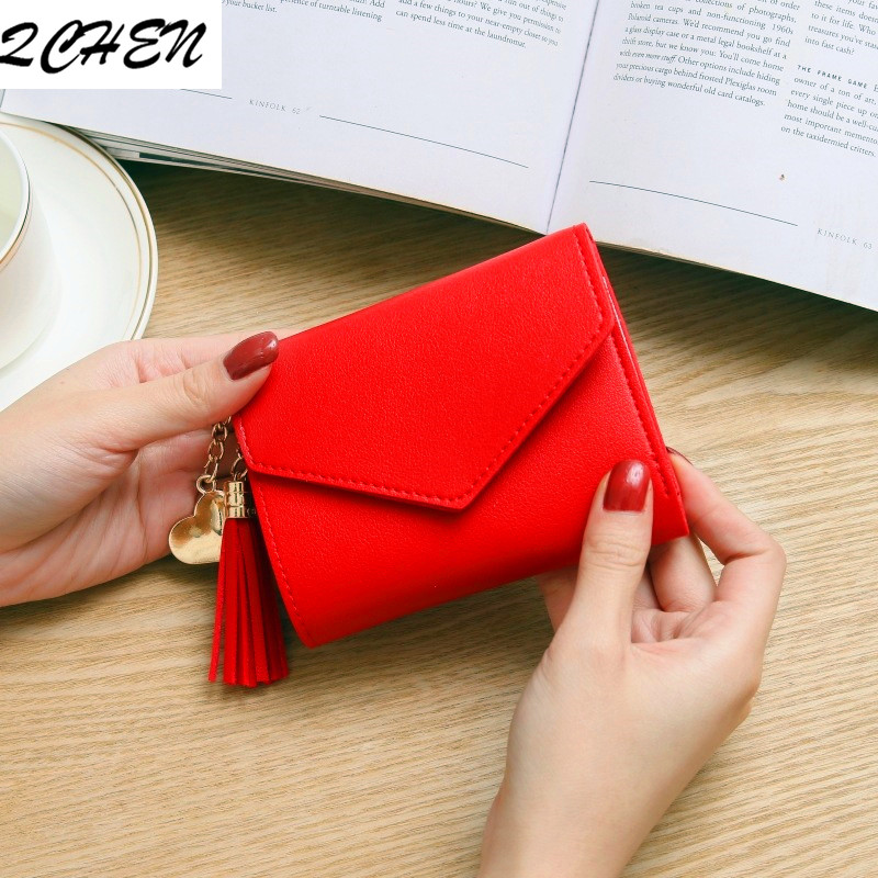 Women Wallet Short Purses Tassel Fashion Coin Purse Card Holder Wallets Female High Quality Clutch Bag PU Leather Wallet 035