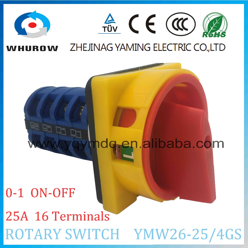 LW26 YMW26-25/4GS Rotary switch knob 2 position 0-1 ON-OFF padlock handle High quality changeover cam switch 25A 4 section ui 660v ith 125a on off 2 position rotary cam changeover switch lw28 125 3
