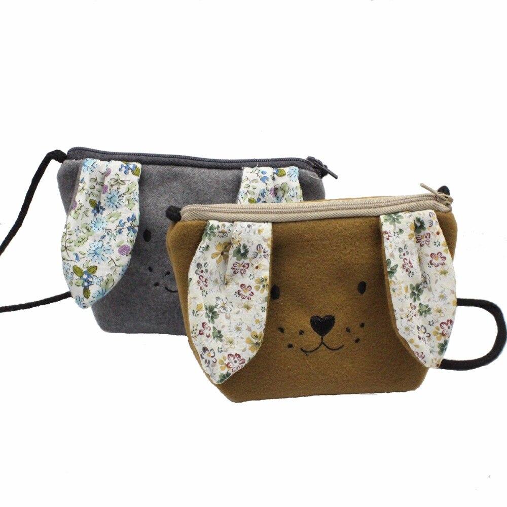 M467 2018 New Children Messenger Bag Cashmere Wool Embroidery Cute Puppy  Dog Floral Fabric Children Satchel Purse Gift Wholesale