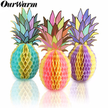 OurWarm 3pcs Paper Pineapple Honeycombs Muti-color Pineapple Garland Table Centerpiece Birthday Hawaiian Theme Party Decoration все цены