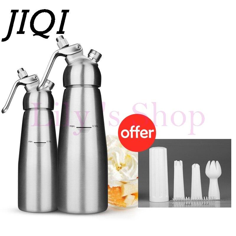 JIQI stainless steel DIY foamer Gun Coffee Dessert Decorating Nozzles Whipped Fresh Cream Butter Whipper Dispenser 500ml 1000ml