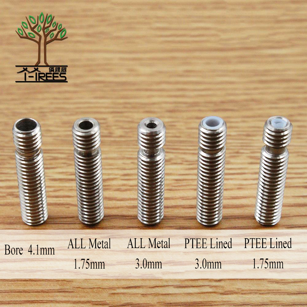 5Pcs Extruder 3D V5 HeatBreak Hotend Throat For 1.75/3.0mm Filament All-Metal /With PTFE Stainless Steel Feeding Tube Printer 100pcs stainless steel 3d v5 all metal heat break hotend throat for 1 75mm 3 00mm filament 3d printer free shipping