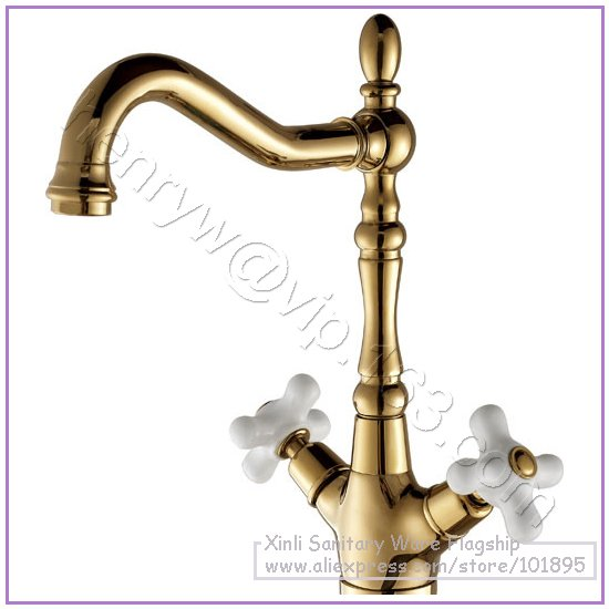 L16296 - Luxury Brass Double Handle Basin Faucet Gold Color Hot & Cold Basin Mixer Deck Mounted Basin TapL16296 - Luxury Brass Double Handle Basin Faucet Gold Color Hot & Cold Basin Mixer Deck Mounted Basin Tap