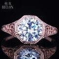 HELÓN 7mm Ronda Sólido 14 K Oro Rosa AAA Graded Cubic Zirconia Engagement Wedding Filigrana Antique Joyería de Las Mujeres anillo