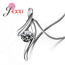 Genuine 925 Sterling Silver NEW Fashionable Design Pendant Necklace CZ Wedding Jewelry
