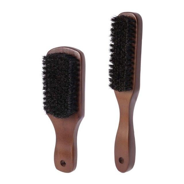 Men Boar Bristle Mustache Brush Wood Handle Comb Facial Beard Cleaning Styling