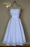 Cheap Price 2014 New Free Shipping A Line Tea Length Sweetheart White Ivory Lace Wedding Dresses