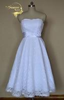 Vestidos Robe de Soiree 2017 New Design A Line Tea Length Sweetheart White Ivory Lace Beach Wedding Dresses OW2041