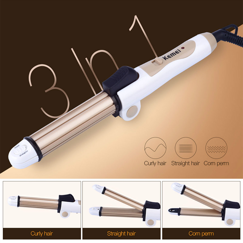 Kemei 3 in 1 Foldable Hair Curler Fast Heating Mini Ceramic Curling Iron + Hair Straightener Flat Iron+Corn Plate Hair Curler