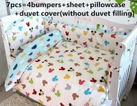 Promotion! 6/7PCS Cartoon baby bed sheet bedding set for newborn super soft crib cheap linen,duvet cover ,120*60/120*70cm