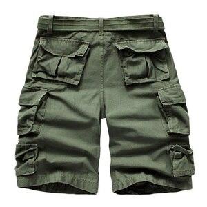 Image 4 - קיץ מכנסיים קצרים מטען גברים רבים כיס הסוואה חצי מכנסיים קצר מקרית Loose Camo מכנסיים באורך הברך עם חגורה ברמודה זכר