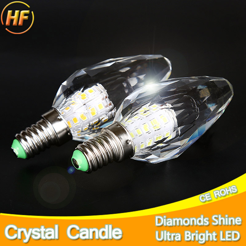 2pcs/lot DiamondsCutting Crystal LED Light Bulb Lamp Candle LED Bulb E14 7W 220V Cool Warm White Lampara Lampadina Ampoule Lampe candle led bulb e14 9w 12w aluminum shell e14 led light lamp 220v golden silver cool warm white ampoule lampara led smd 2835