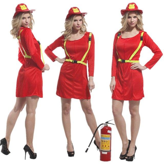20cb9391b شحن مجاني الكبار المرأة رجال الاطفاء زي عيد الميلاد كرنفال هالوين تنكر  فستان بتصميم حالم النار