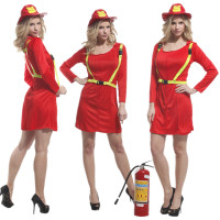 Free Shipping Adult Women Firefighter Costume Christmas Carnival Halloween Masquerade Fancy Dress Fire Fighter Cosplay Clothes