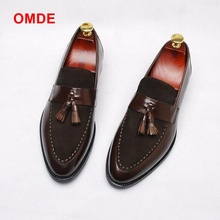 OMDE Handmade Leather Men Tassel Loafers Fashion Casual Shoes Party And Banquet Smoking Slippers Big Size
