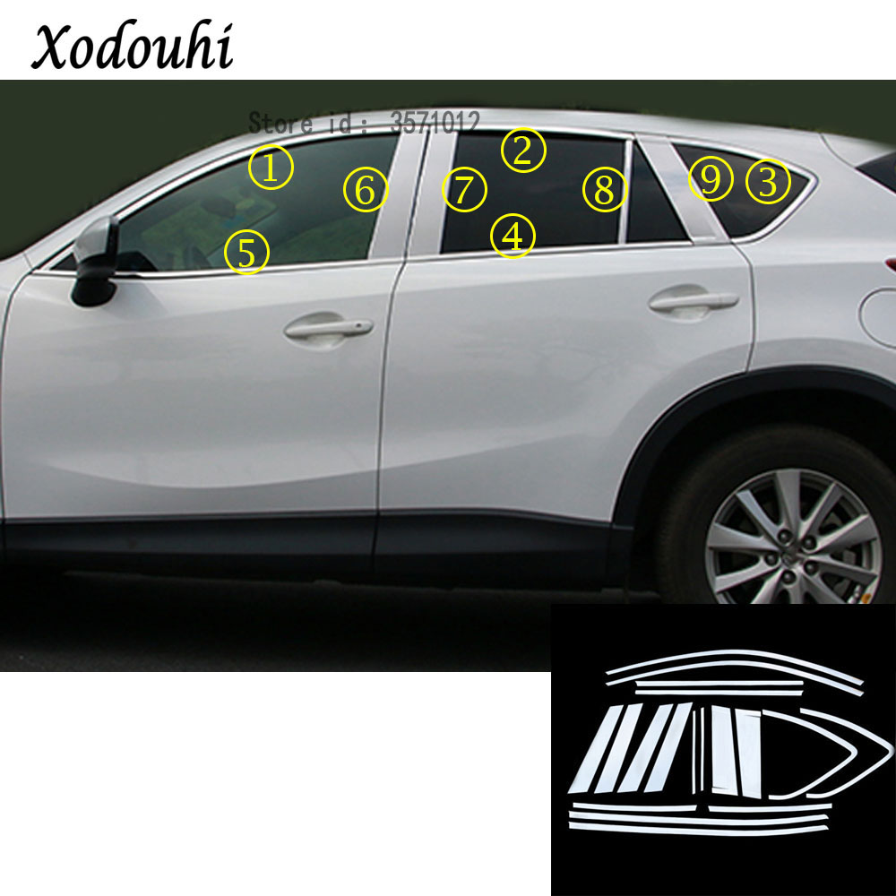 For mazda cx 5 cx5 2013 2014 2015 2016 car styling stainless steel glass window garnish pillar middle column trim hoods