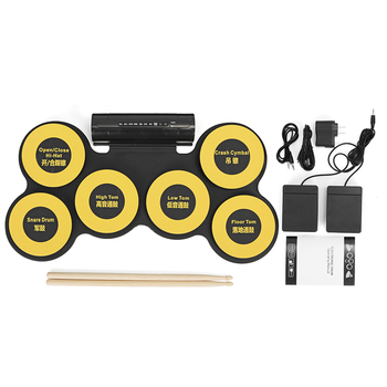 Portable Silicone 6 Pads USB Roll Up Drum Electronic Drum With Foot Pedals Drumsticks