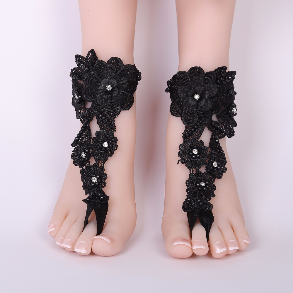 d899a35ca Lace Barefoot Sandals Beach Wedding Anklet black Sexy Jewelry Wedding Shoes  Beaded 2018