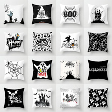 Elife Skull Halloween cushion Cover Ghost Witch Pumpkin Polyester for Bedroom Home Decor Magical Cat Throw Pillows case 45*45CM