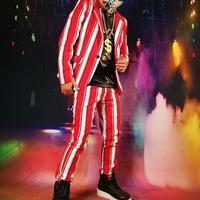 Горячее предложение повседневное блейзер для мужчин Хип Хоп этап Индивидуальный костюм певица Мода красный и белый в полоску куртка DJ тонк