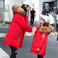Parent child down jacket for girl clothing warm clothes 2019 new kids Winter Thicken Parka real Fur Children Outerwear Coats