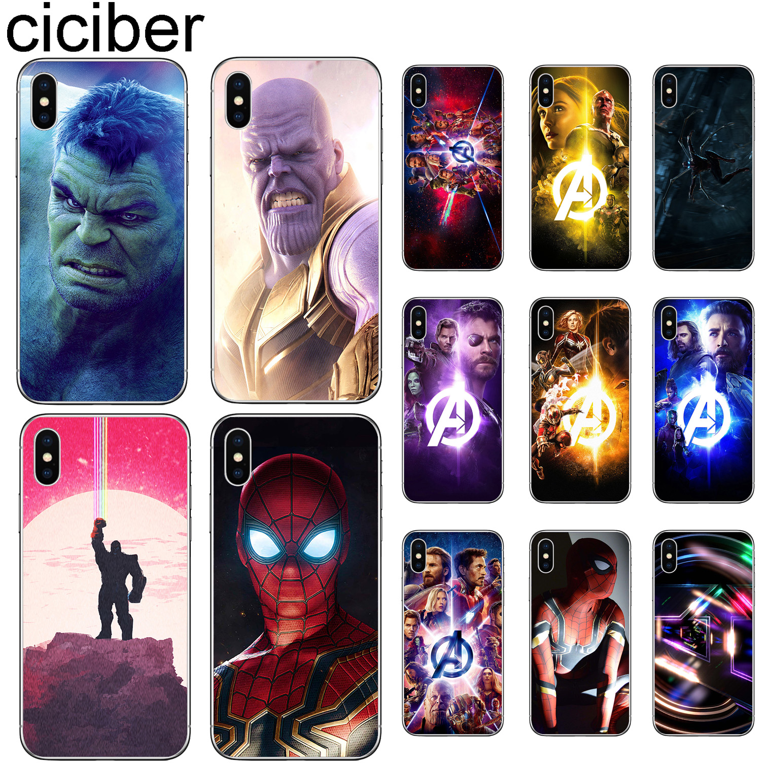 a58c30a3f1 ciciber For Iphone 7 8 6 6S Plus 5S SE X XR XS MAX Clear Soft Silicone TPU Cover  Phone Cases DC Marvel The Avengers Fundas Coque