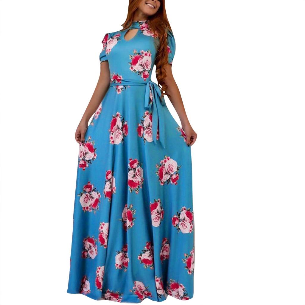 Long Dress 2019 New Arrival Clothing Summer Short Sleeve Floral Printed Sundress Casual Swing Dress Falda de dama de la moda