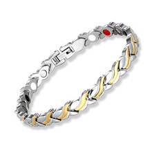 Fashion Womens Health Magnetic Bracelet  Stainless Steel Magnet Germanium Care Bracelet Hand Chain stainless steel hologram bracelet germanium balance energy care magnetic power health bracelets bangles