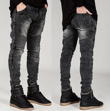 High-end BIKER JEANS Stereo Elastic Straight Leg Type Skinny Motorcycle Hip Hop Street Slim Locomotive Jeans