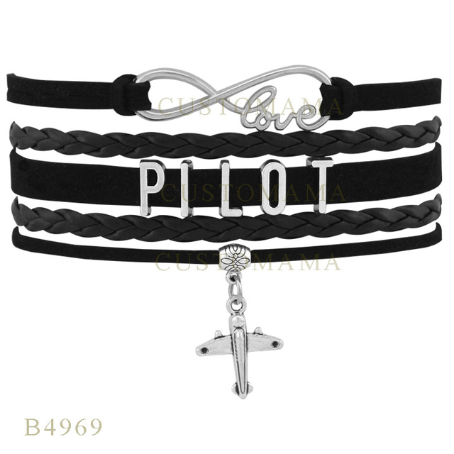 49bb14eac100 (10 unids lote) regalos pulseras para mujeres pulsera de cuero negro  personalizado infinito