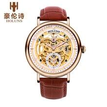 Оригинальный Новый HOLUNS Мужчины Автоматические Механические Сапфир Полые Часы Случайный Водонепроницаемый Мужские Наручные Часы Relojes relógio masculino