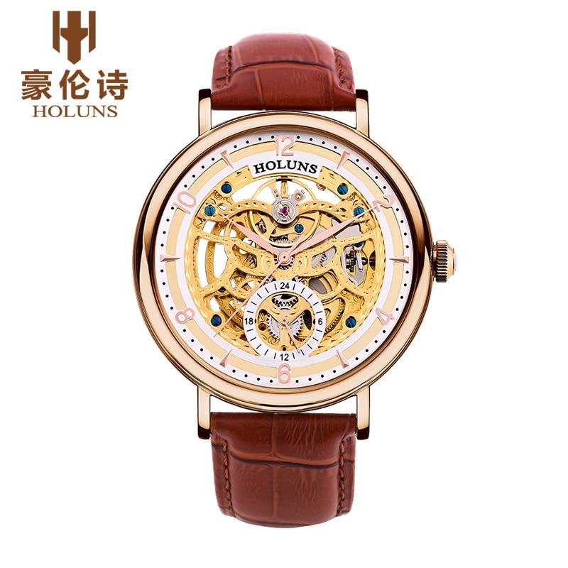 원래 새로운 holuns 남자 자동 기계 사파이어 중공 시계 캐주얼 방수 망 손목 시계 relojes relogio masculino-에서기계식 시계부터 시계 의  그룹 1