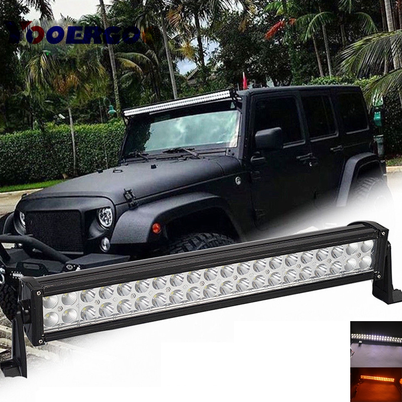 22 120w Amber White Stroboflash Flashing Led Work Light Bar Flood Spot Off Road Lamp 4wd Driving With A Remoter Controller