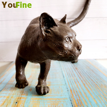 Bronze statue pet cat brass lynx ornaments home decoration guardian traditional retro collectibles