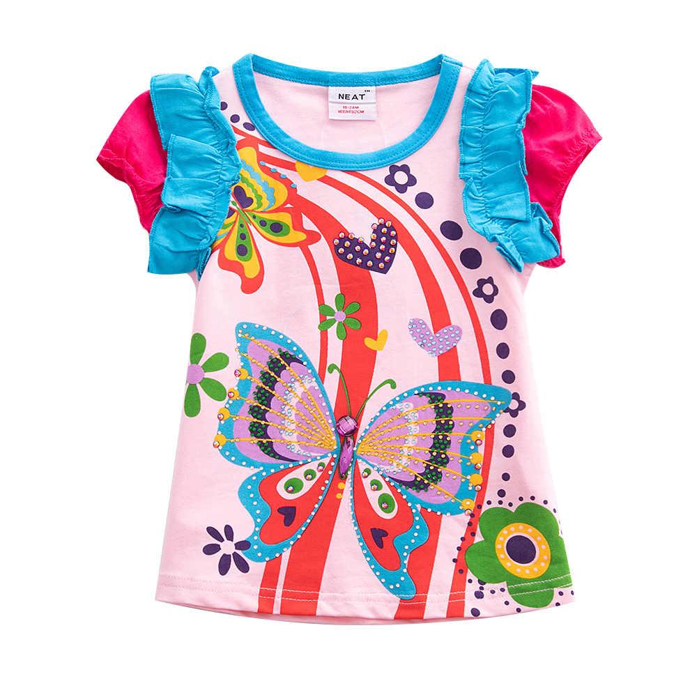 Meisjes Korte Mouw T-Shirt Zomer Katoen Afdrukken Vlinder Pailletten Meisjes Middelgrote en Kleine Kinderen Babykleding Leuke Tops T-Shirt