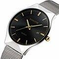 KANUOXI Novo Top Relógio de Luxo Homens Relógios masculinos da Marca Ultra Fina Malha de Aço Inoxidável Banda relógio de Pulso de Quartzo Moda casual relógio