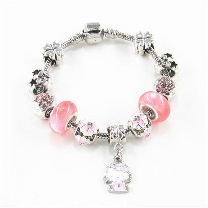women Charm bracelet Lady Cat Pendant Bead chain DIY Crystal Women's jewelry Bracelet Send a friend the best gift