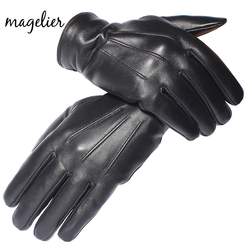 Magelier Genuine Leather Gloves For Men Real Sheepskin Black Gloves Winter Warm Fashion Brand Button Mittens New Arrival 050