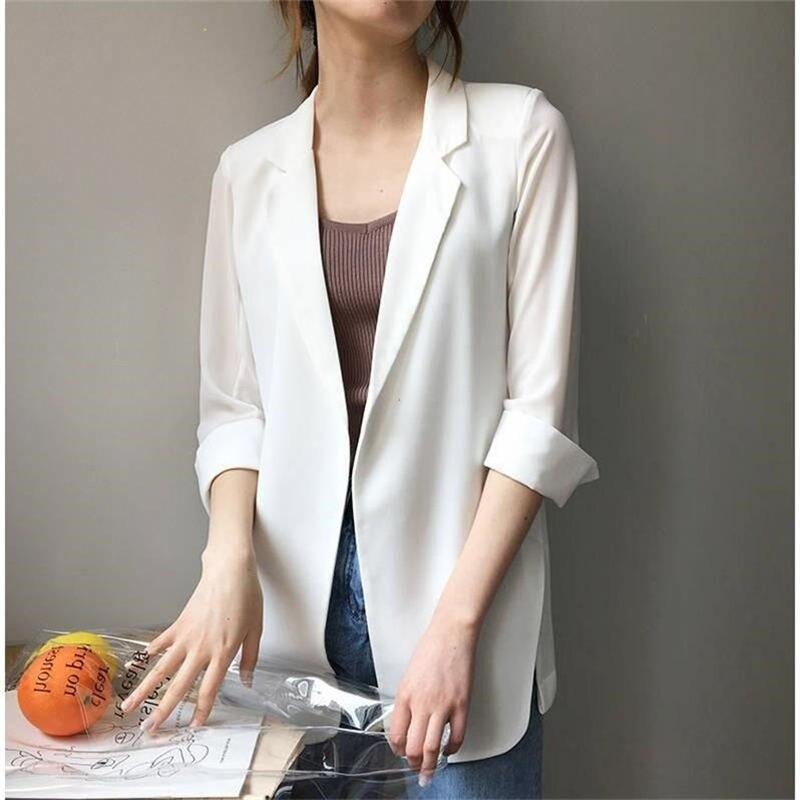 White Blazer Women Elegant Slim Chiffon Blazer Female Spring Summer Suit Jacket Women Clothes Outwear Casual Blazer Office Q1292