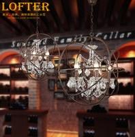 Loft Vintage American Rural Orb Globe crystal ring chandelier Rustic creative clothing store restaurant iron hanging lamp