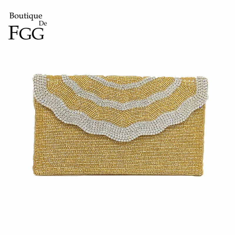 Boutique De FGG Dazzling Crystal Women Gold Evening Bag Handmade Beaded Envelope Purse Wedding Party Cocktail Bridal Handbag