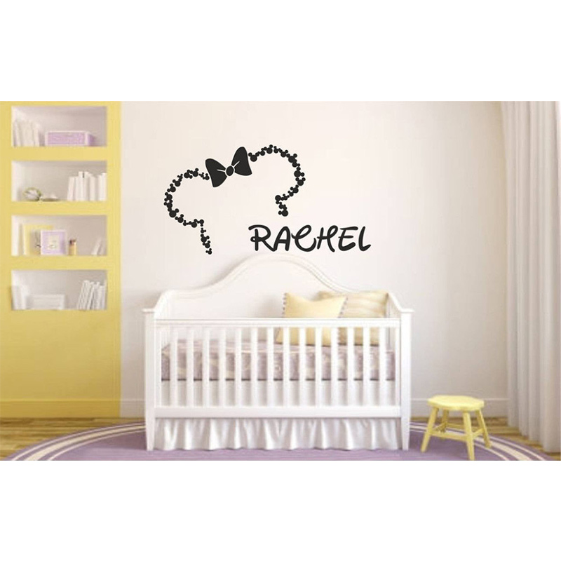 POOMOO Wall Decor MINNIE MOUSE - PERSONALISED NAME - KIDS BEDROOM -WALL ART - VINYL / DECAL