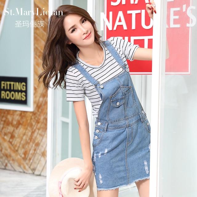 80a8dc7830 Summer Skirt Women Denim Suspender Skirt Jeans skirt Blue Jeans Casual  shoulder-straps Top Quality Front Pocket Overall Skirt