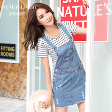 Summer Skirt Women Denim Suspender Skirt Jeans skirt Blue Jeans Casual shoulder-straps Top Quality Front Pocket Overall Skirt