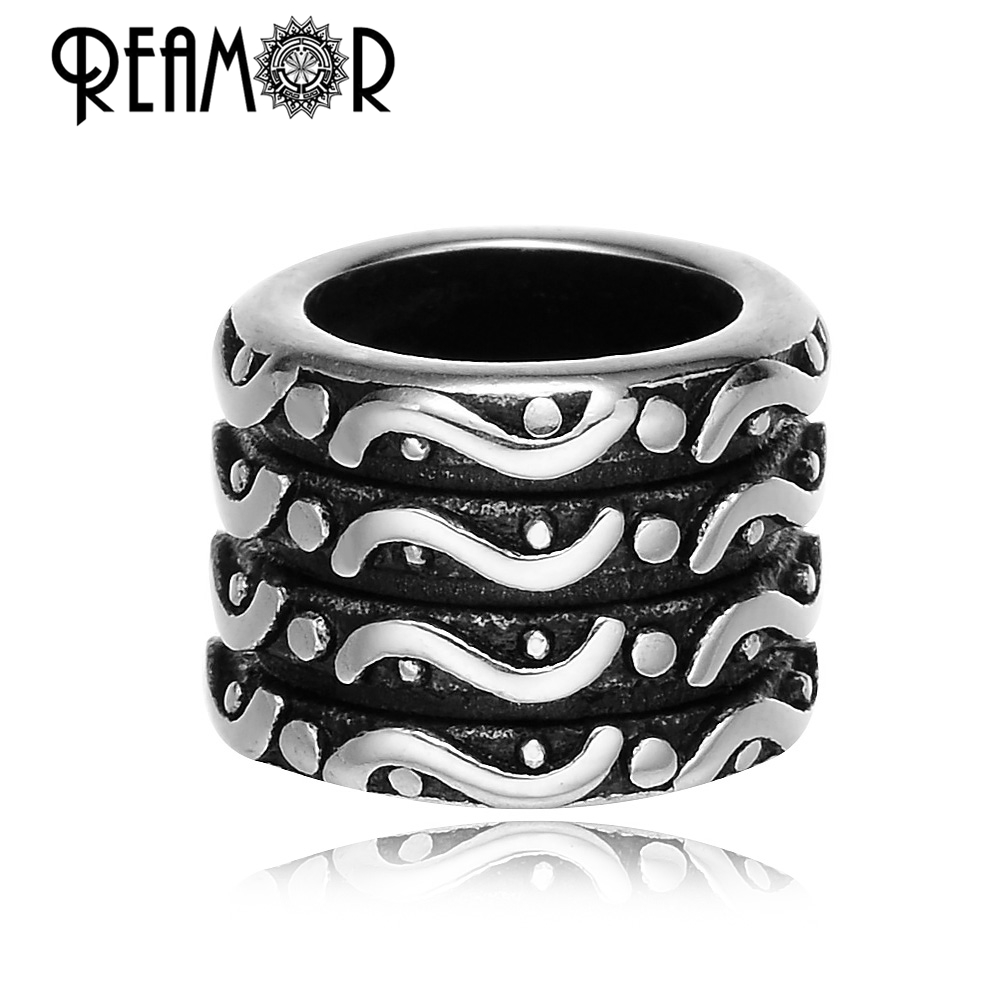 REAMOR 316L Stainless steel Big Hole Tibetan Beads European Charm Metal Spacer Beads for Jewelry Making Wholesale