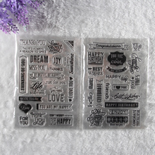2 sheet DIY Floral Happy Birthday Transparent Clear Rubber Stamp Seal Paper Craft Scrapbooking Decoration