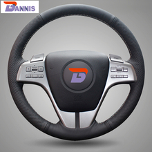 BANNIS Black Artificial Leather DIY Hand-stitched Steering Wheel Cover for Old Mazda 6 2009 Mazda 6