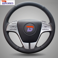 Black Artificial Leather DIY Hand Stitched Steering Wheel Cover For Old Mazda 6 2009 Mazda 6