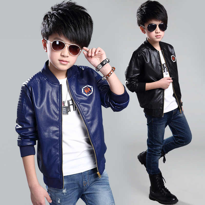 c1ebe1e58 Teenage Boys Bomber PU Leather Jacket 2018 Spring Autumn Kids Boy ...