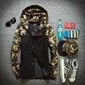 Otoño invierno hombre caliente chaquetas y abrigos parka manteau homme hombres de camuflaje camo abajo de algodón acolchada chaqueta rompevientos